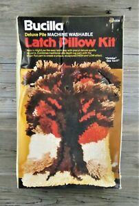 "Vtg Bucilla Deluxe Pile Latch hook Pillow Kit OCTOBER 12"" x 17"" MCM TREE DESIGN"