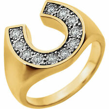 Mens Horseshoe Design Ring Genuine Diamonds 1/4 ctw 14K Solid Gold Sz 10 Sizable