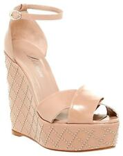 $400 DELMAN Nude Beige Leather Wedge Studded Sandals Shoe Ankle Strap Shoes  8