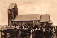 Wyk auf Föhr, St. Nicolaikirche mit Friedhof, 1912 von Wyk nach Berlin versandt