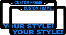 2 CUSTOM PERSONALIZED BLACK LIGHT BLUE LETTERS customized License Plate Frame