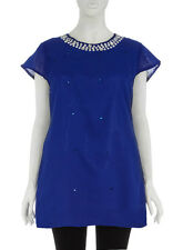 Evans/ Praslin  Sleeves Occassion Embellished Jewellery Top 30/32 Blue
