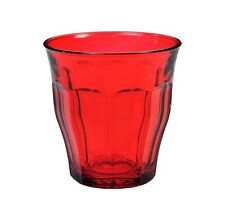 Duralex - Picardie Colored Tumbler Red Drinking Glass, 250 ml. 8 3/4 oz. Set of