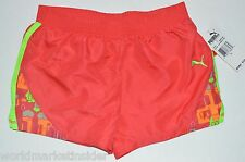 NEW PUMA Girls red  orange Gym athletic Shorts L 12 14