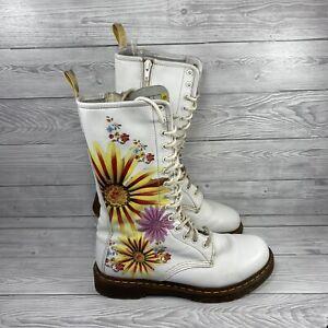 Dr Martens Flower Burst White 14 eye high Women's Shoes, Size UK 8 EU 42