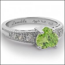 SHINY CANDY RING Loveable Apple Green Heart,White Gold Plated Sterling Silver925