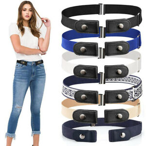 Buckle Free Belt For Jean Pants Dresses No Buckle Stretch Elastic Waist BeltBJN