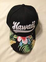 50d4e17ac3b90 Hawaiian Hibiscus Flower Leaves Embroidered Hawaii Adjustable Black  Baseball Cap