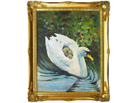 Garnock Swan by A S Gibson - Oil on Board, Gilt Frame, Signed, Original