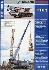 Prospekt D GB I 2001 Tadano Faun ATF 100-5 Autokran mobile crane grue brochure