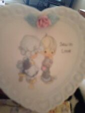 "Precious Moments ""Sew In Love� 1994 Heart-Shaped Collector Plate w/stand"