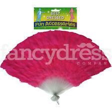 "15"" Long Feather Fan Hot Pink Burlesque Moulin Rouge Showgirl Dance Fancy Dress"