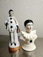Vintage Set of Porcelain Pierrot Clown Harlequin Figure and Head. Rare!!!