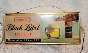 "Vintage 1960's Carling Black Label Beer Bar Tavern Lighted Sign 24"" X 10"""