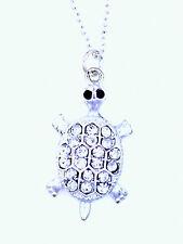 Super cute silver tone crystal  turtle tortoise charm pendant necklace