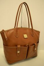 DOONEY & BOURKE LEATHER FRONT POCKET SHOULDER BAG/TOTE in BROWN