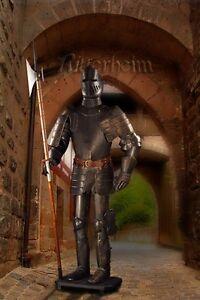 Noir Armure chevalier medievale hallebardier 193cm