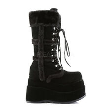 "BEAR-202 4"" GOTH/ CYBER/PUNK  FURRY DRESSY LACE UP  CALF  HIGH PLATFORM BOOT"