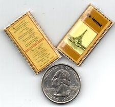 2  Miniature  FRENCH   RESTAURANT   MENUS   - Dollhouse 1:12 scale