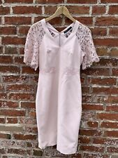 Karen Millen Lace Sleeve Dress, Pink Nude, UK 12 Worn Once, Knee Length, Bodycon