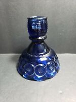 "Moon and Stars Glass LE Smith COBALT BLUE 4"" Candle Holder Stick MIDDLE"
