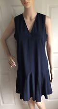 J Crew Sleeveless Flouce Dress NAVY Blue Sz XS Small C7059 Womens V-neck Flirty