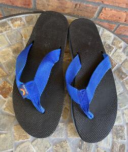 Vintage 1970s Rainbow Layered Flip Flops Thongs Waffle Sole Blue White Men 10