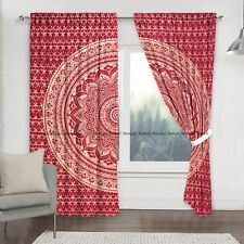 Red Gold Ombre Mandala Curtains Indian Cotton Window Balcony Door Drapes Hanging