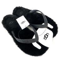 UGG Womens Black Fluffie Flip Flops Sandals UK Size 4 (EUR 37)