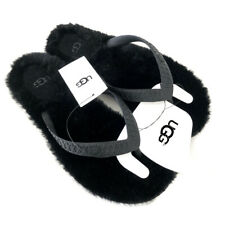 UGG Womens Black Fluffie Flip Flops Sandals UK Size 4 (EUR 37)