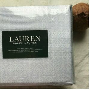 LAUREN RALPH LAUREN Luxury Cotton Geo White/Bluish Printed KING Sheet Set NEW
