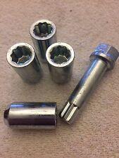 4 X M12X1.25 Slim Line + Sintonizador Clave Tuercas de Rueda de Aleación interna se ajusta Nissan