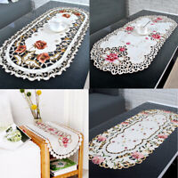 Vintage Embroidered Floral Tablecloth Oval Lace Table Runner Doilies Wedding