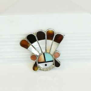 Vintage Zuni Style Sunface Brooch Mother of Pearl Coral Inlay Native American