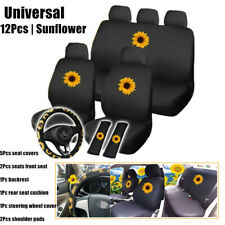 12Pcs Sunflower Universal Car Seat Cover Cotton Cushion Protector Breathable Kit