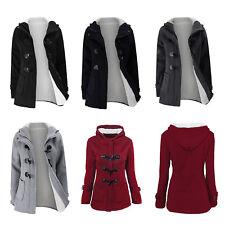 Women's Hooded Pea Coat Jackets Overcoat Thicken Winter Warm Outerwear Plus Size