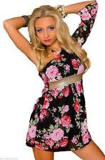Damen Bunt Tunika Sommerkleid One Shoulder Longbluse Chiffon Blume Muster 34 36