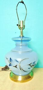 Table Lamp Brass Gold Colored Base Baby Blue Body Glass or Ceramic Flowers