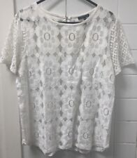 Warehouse Size 10 White Lace Top EUC Festival Casual Business Work