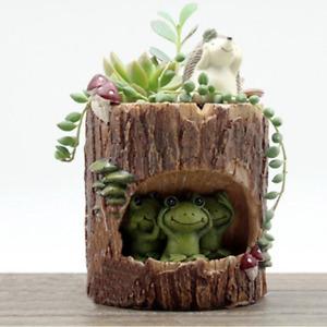 Tinksky Cute Green Frog Flower Sedum Succulent Pot Planter Bonsai Trough Box