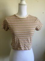 brandy melville cream/red/yellow/blue striped ribbed crewneck Helen top NWT sz S