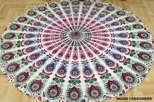 Yoga Mat New Peacock Wall Hanging Round Throw Tapestry Round Beach Towel Cotton