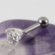 Helix Tragus Lobe Cartilage Bar Silver Motif Clear 4mm Crystal 1.2 x 6mm New