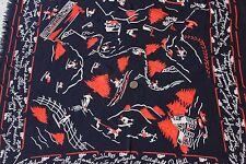 Vintage American Printed Rayon Conversational Ski Scarf/Bandana c1938-1940