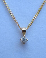 New Diamond Solitaire 9ct Yellow Gold Pendant & 18 inch Chain. £90.00 Freepost