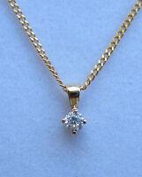 New Diamond Solitaire 9ct Yellow Gold Pendant & 18 inch Chain. £100.00 Freepost
