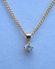 New Diamond Solitaire 9ct Yellow Gold Pendant & 18 inch Chain. £100.00 Freepost