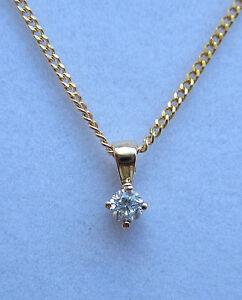 New Diamond Solitaire 9ct Yellow Gold Pendant &18 inch Chain £190 Freepost