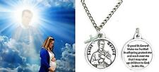 St. Gerard Patron Saint of Expecting Mothers Round Medallion with Cross Dangle