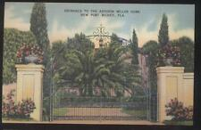 Postcard NEW PORT RICHEY Florida/FL  Addison Miller Home Entrance Gate 1930's